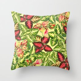 Scattered Coleus Plants on Yellow Background Throw Pillow