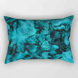 Blue Gemstone and Ink Malachite Glitter Marble Rectangular Pillow