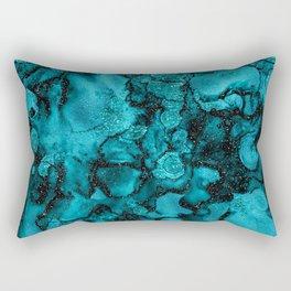 Blue Gemstone and Ink Malachite Glitter Marble Rectangular Pillow