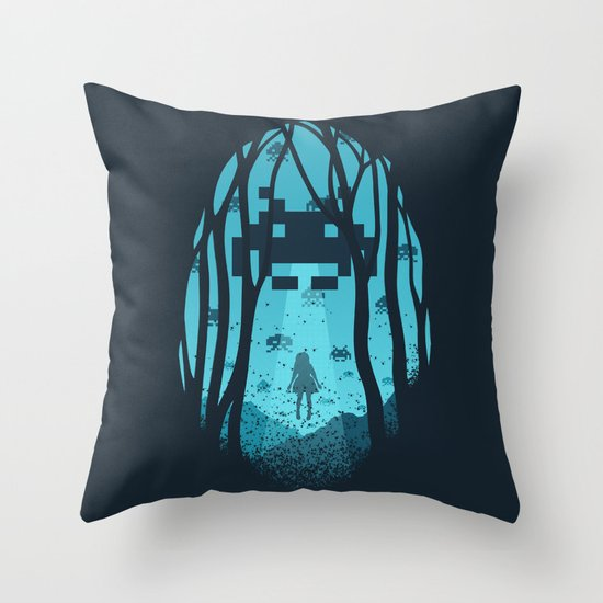 8 Bit Invasion Throw Pillow
