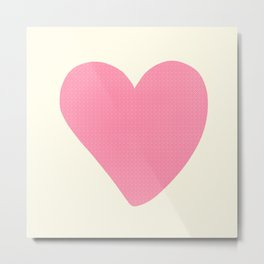Pink Heart on Pale Yellow Metal Print
