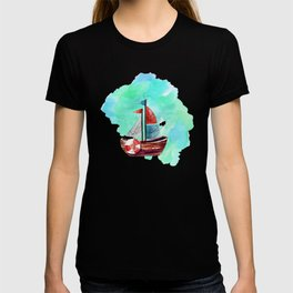 Ship in the Watercolor T-shirt