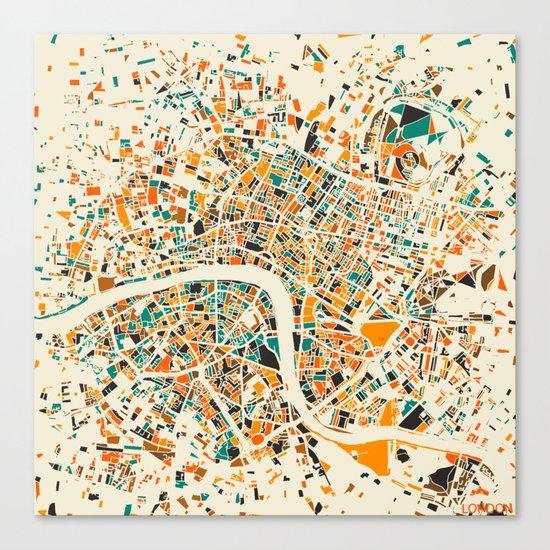 London Mosaic Map #4 Canvas Print
