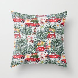 Dachshund decorates the christmas tree Throw Pillow