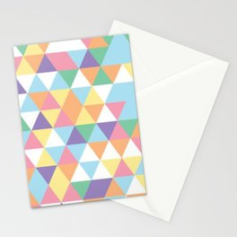 Cute Colorful Triangles Polygon Mosaic Pattern Stationery Cards