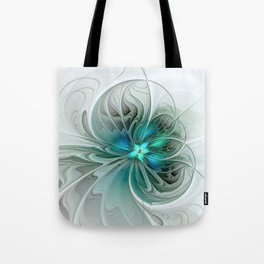 Abstract With Blue, Fractal Art Tote Bag