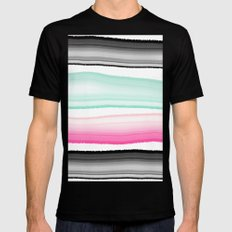 Modern abstract black pink turquoise agate gem stripes pattern Black 2X-LARGE Mens Fitted Tee