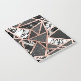 Modern Rose Gold Glitter Marble Geometric Triangle Notebook