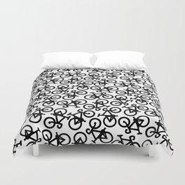 Black Bikes Pattern Duvet Cover