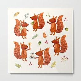 Festive Squirrels Metal Print