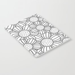 Field of daisies - gray Notebook
