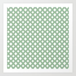 Green white Diamond Pattern Art Print