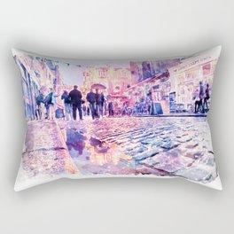 Dublin Watercolor Streetscape Rectangular Pillow