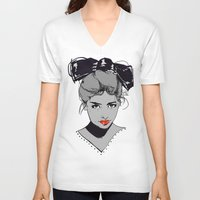 bow V-neck T-shirts featuring bow by Galvanise The Dog
