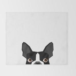 Boston Terrier head peeking cute dog gifts funny must haves boston terriers Throw Blanket