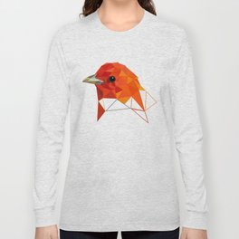 Orange Bird Geometric art Long Sleeve T-shirt