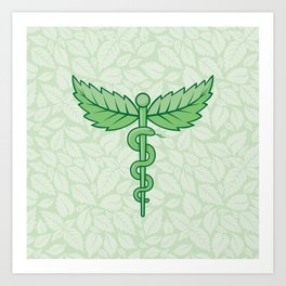 Caduceus with leaves Art Print