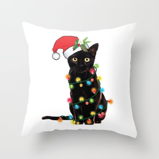 Santa Black Cat Tangled Up In Lights Christmas Santa Graphic by tronictees