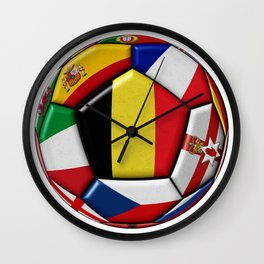 Soccer ball with flag of Belgium in the center Wall Clock