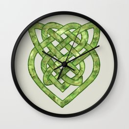 Celtic Knot:  Green Watercolor with love knot form - heart - romance - love Wall Clock