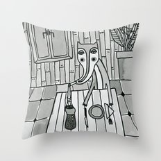 Fox in a diner Throw Pillow