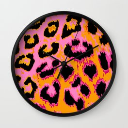 Gold and Pink Leopard Spots Wall Clock