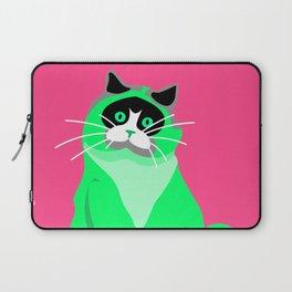 Cats Lover Art Cute Green Cat On Pink Laptop Sleeve
