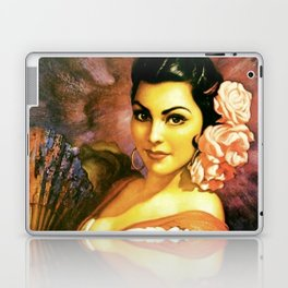 Jesus Helguera Painting of a Mexican Calendar Girl with Fan Laptop & iPad Skin