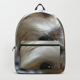 White Haired Street Dog Portrait Backpack