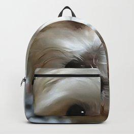 White Haired Street Dog Portrait Backpack