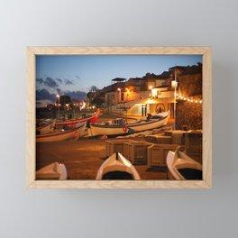 Fishing harbour at dusk Framed Mini Art Print