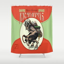 """Here Comes Krampus"" Shower Curtain"