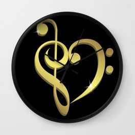 Treble clef, bass clef music heart love Wall Clock