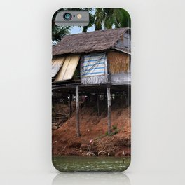 Picturesque Stilt house on the Mekong River Bank, Laos iPhone Case