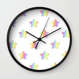Mini Pastel Rainbow Diagonal Striped Stars Wall Clock