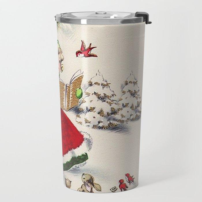 Vintage Christmas Girl Travel Mug