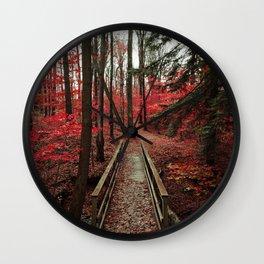 Bridge Through Autumn Forest Wall Clock
