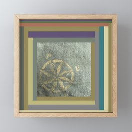 Compass: painted in gold metallic on hand dyed green fabric Framed Mini Art Print