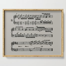 Black distressed stamped music notes light gray grey background Serving Tray