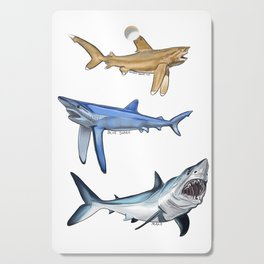 Mako Blue White Tip Sharks Cutting Board
