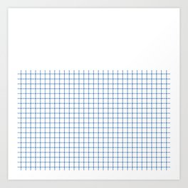 Dotted Grid Boarder Blue on White Art Print
