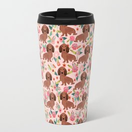 Long Haired Dachshund red coat pet friendly must have gifts for home dog lover Travel Mug