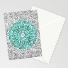 New Vintage Floral Mandala Aqua Green Stationery Cards