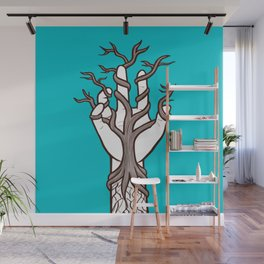 Bare tree growing within a hand – interlacing of nature and humanity Wall Mural