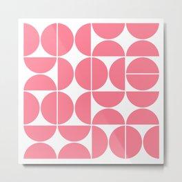 Mid Century Modern Geometric 04 Pink Metal Print