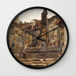 Fontaine St Anne, Fribourg, Switzerland - Digital Remastered Edition Wall Clock