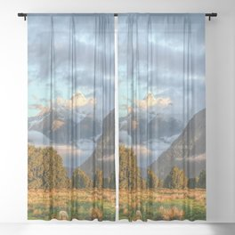 New Zealand South Island Landscape With Sheep Panorama Sheer Curtain