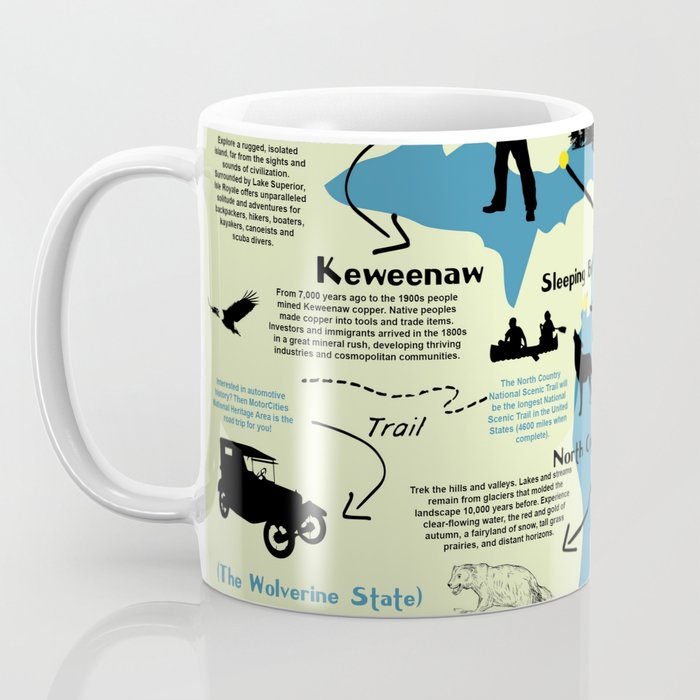 Michigan National Parks Infographic Map Coffee Mug