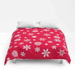 Snow Flurries-Christmassy Red Comforters