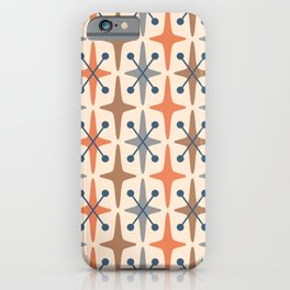 Mid Century Modern Abstract Star Pattern 941 Orange Brown Gray and Blue iPhone Case